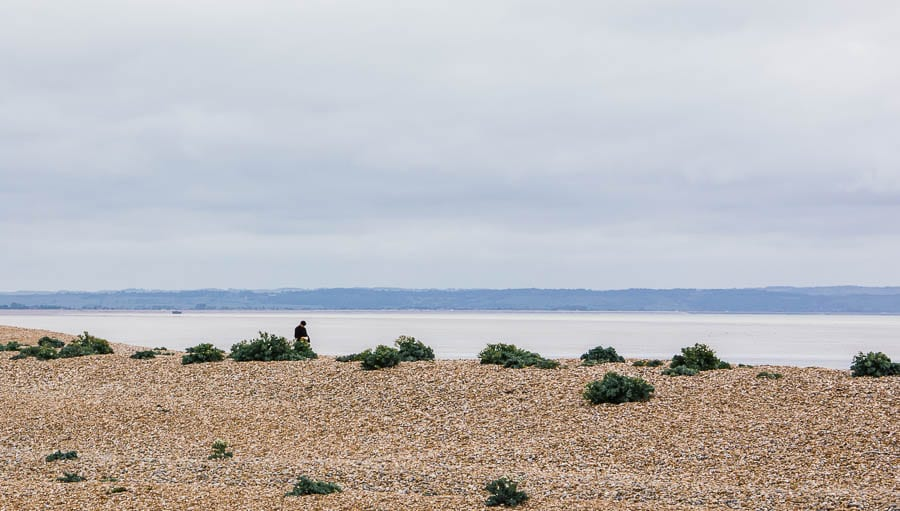 Dungeness beach with man