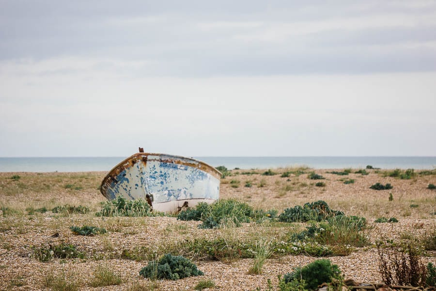 Dungeness boat and shingle and sea