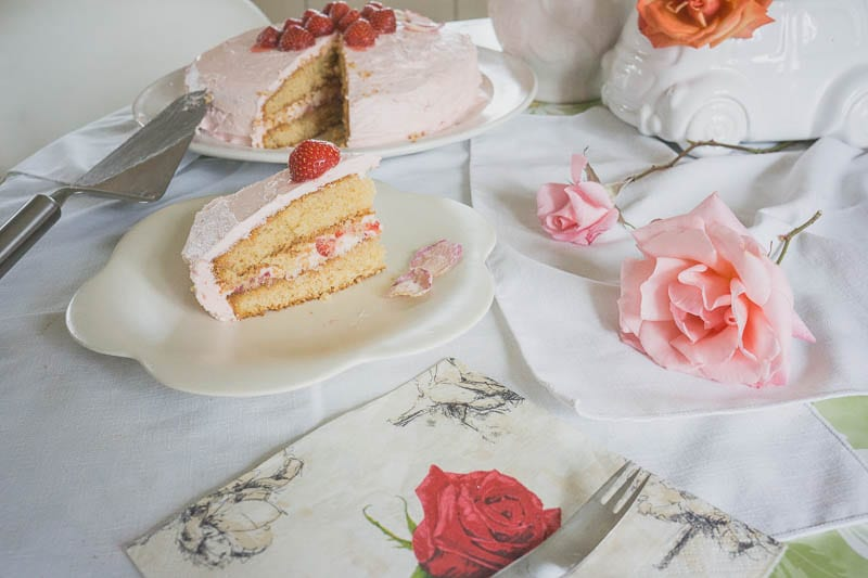 Rose and strawberry cake celebration