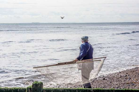 Shrimping at Kingsdown Kent with net