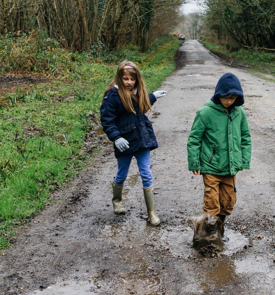 Mud Puddle Walk Kids splashing