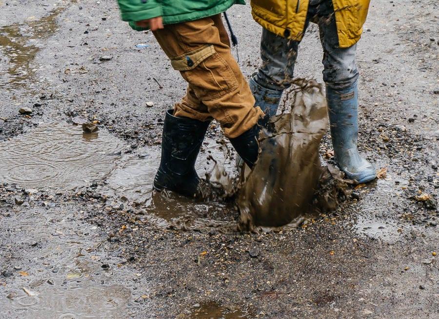 Mud Puddle Walk mud splashing