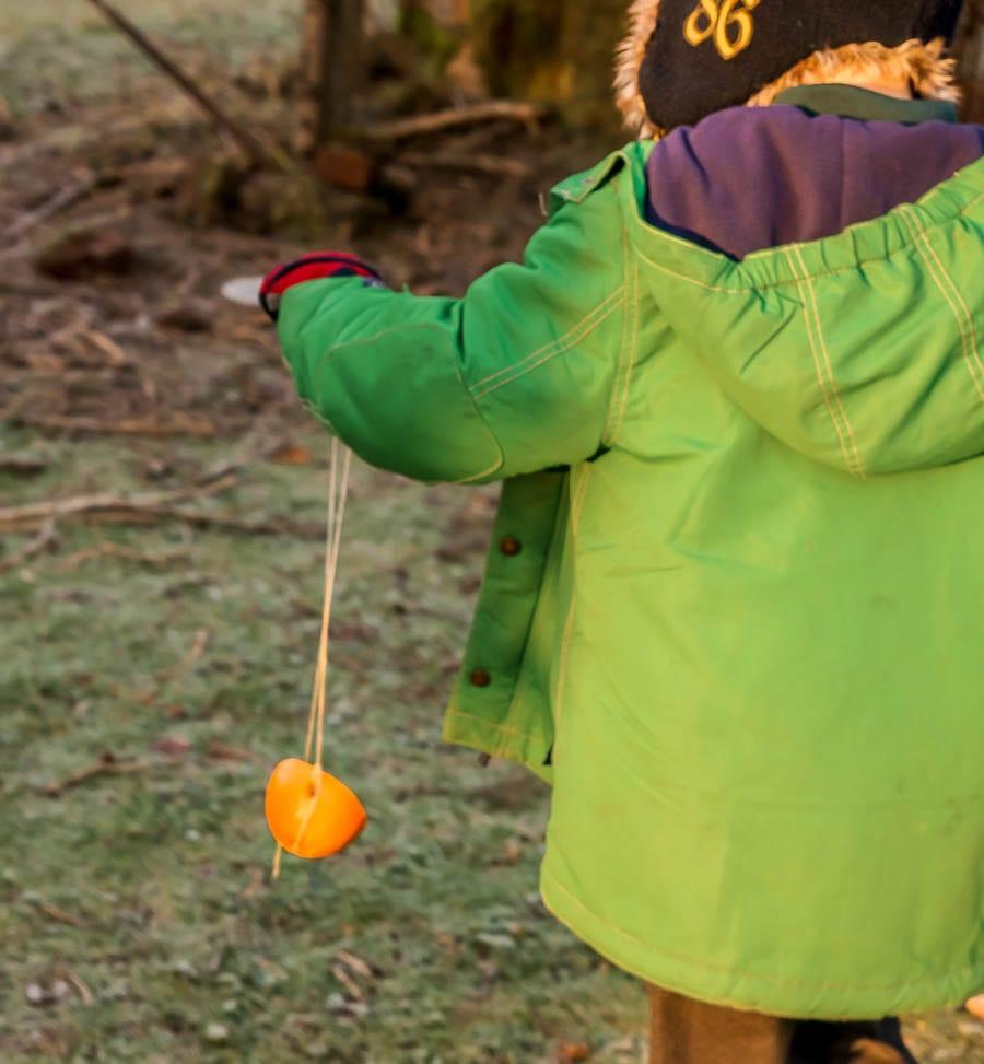 Kids bird watching orange treat