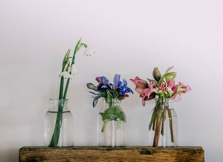 Flowers in three bottle vases