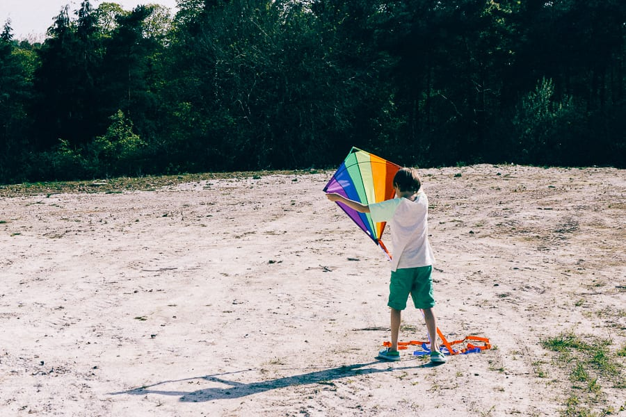 Kite flying preparing for breeze