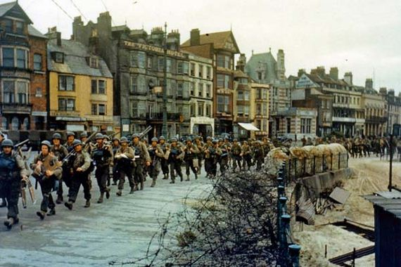 The 2nd Battalion US Army Rangers marching through Weymouth, who needed to capture Pointe du Hoc.