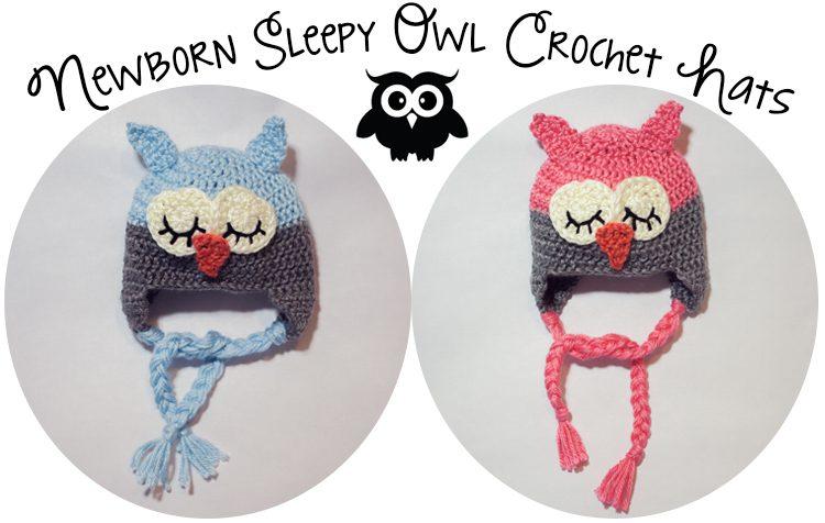 Crochet Sleepy Owl Hat