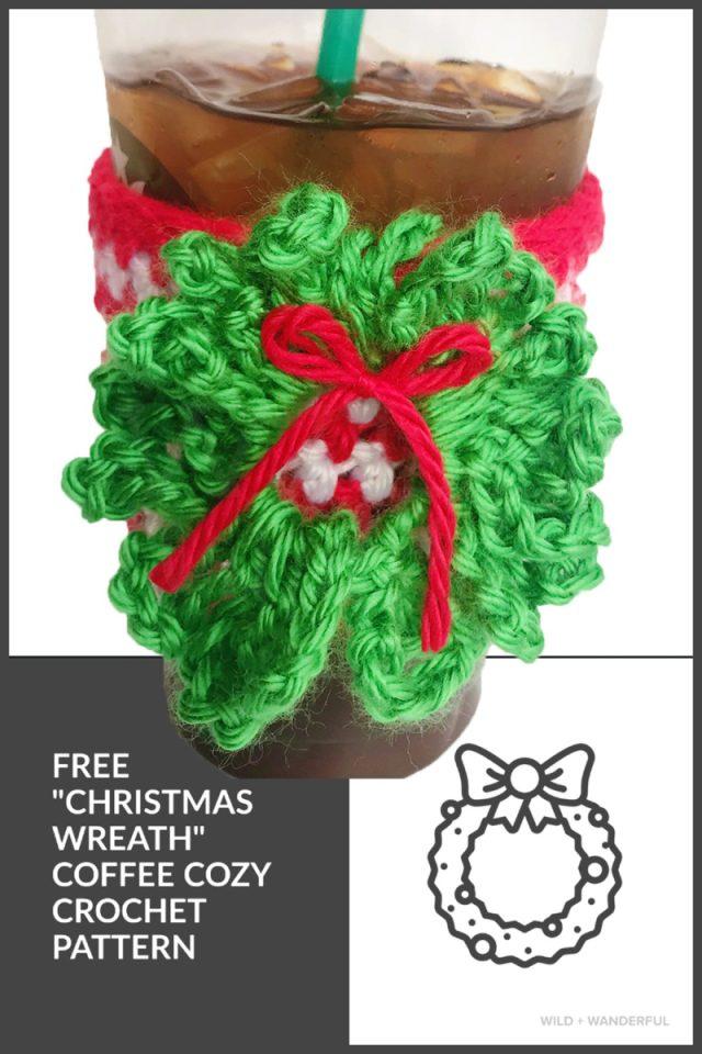 Christmas Wreath Coffee Cozy Free Crochet Pattern