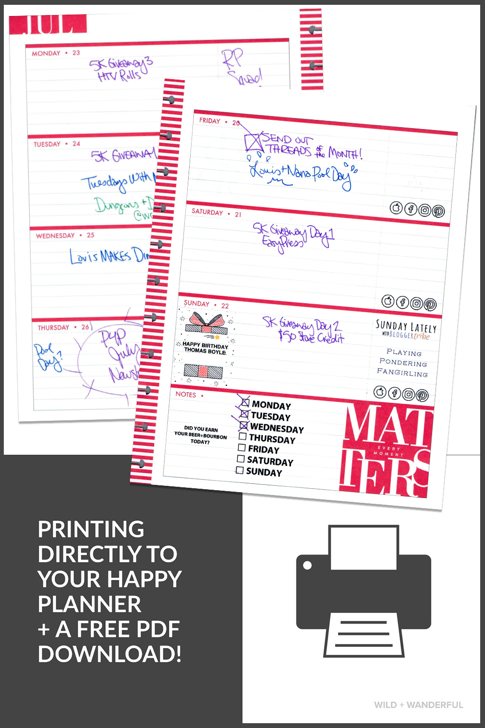 photograph about Discbound Planner Pages Printable identified as Print Right upon Your Delighted Planner + Totally free PDF Documents!