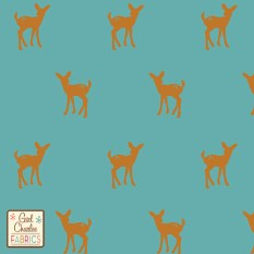 Fawn Silhouette on Dusty Turquoise Cotton Jersey Blend Knit Fabric
