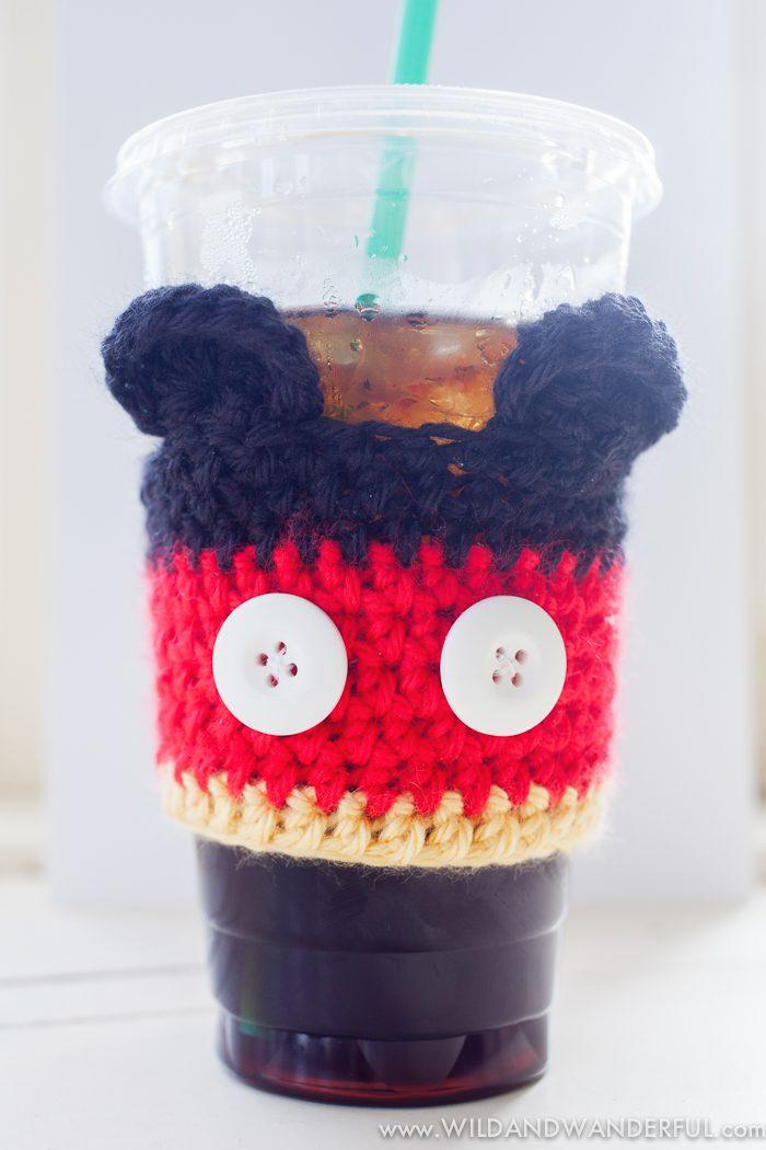 Mickey Mouse Coffee Cozy Free Crochet Pattern Wildwanderful