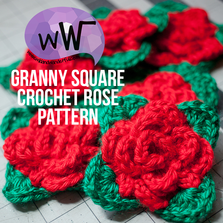Granny Square Rose Free Crochet Pattern Wildwanderful