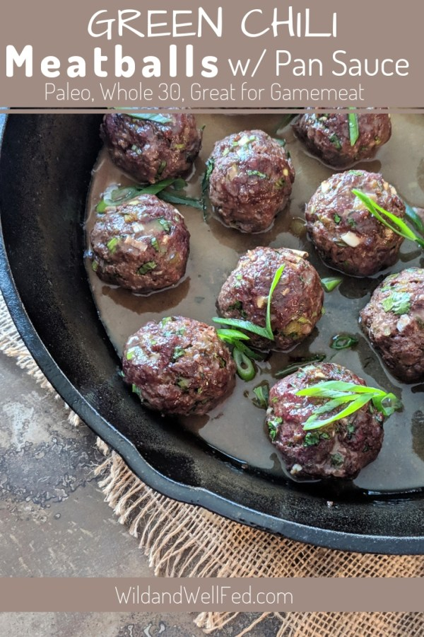 Uncooked Paleo Green Chile Meatballs