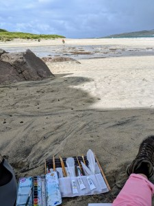 Painting at Luskentyre Beach in Harris