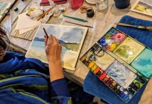 Painting at our studio at Talla Na Mara in Harris