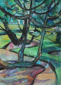 Polkemment Country Park, Scotland, landscape painting by Manna Dobo