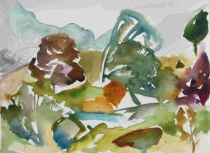Beecraigs Country Park, wtercolour painting by Wild at Art tutor Manna Dobo