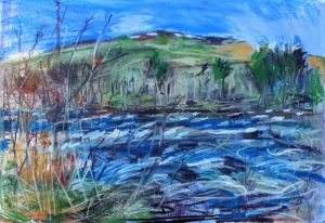 Falls of Dochart, Scotland, plein air painting by Karen Strang