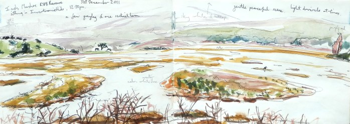 Sketchbook pages of Scottish artist and watercolour tutor Leo du Feu