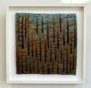 Trees Whisper, handwoven tapestry by Scottish weaver/ tapestry artist Louise Oppenheimer
