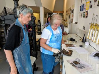 Deborah and Celia at the printmaking workshop