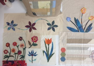 Blocks of flowers for wall hanging - work in progress