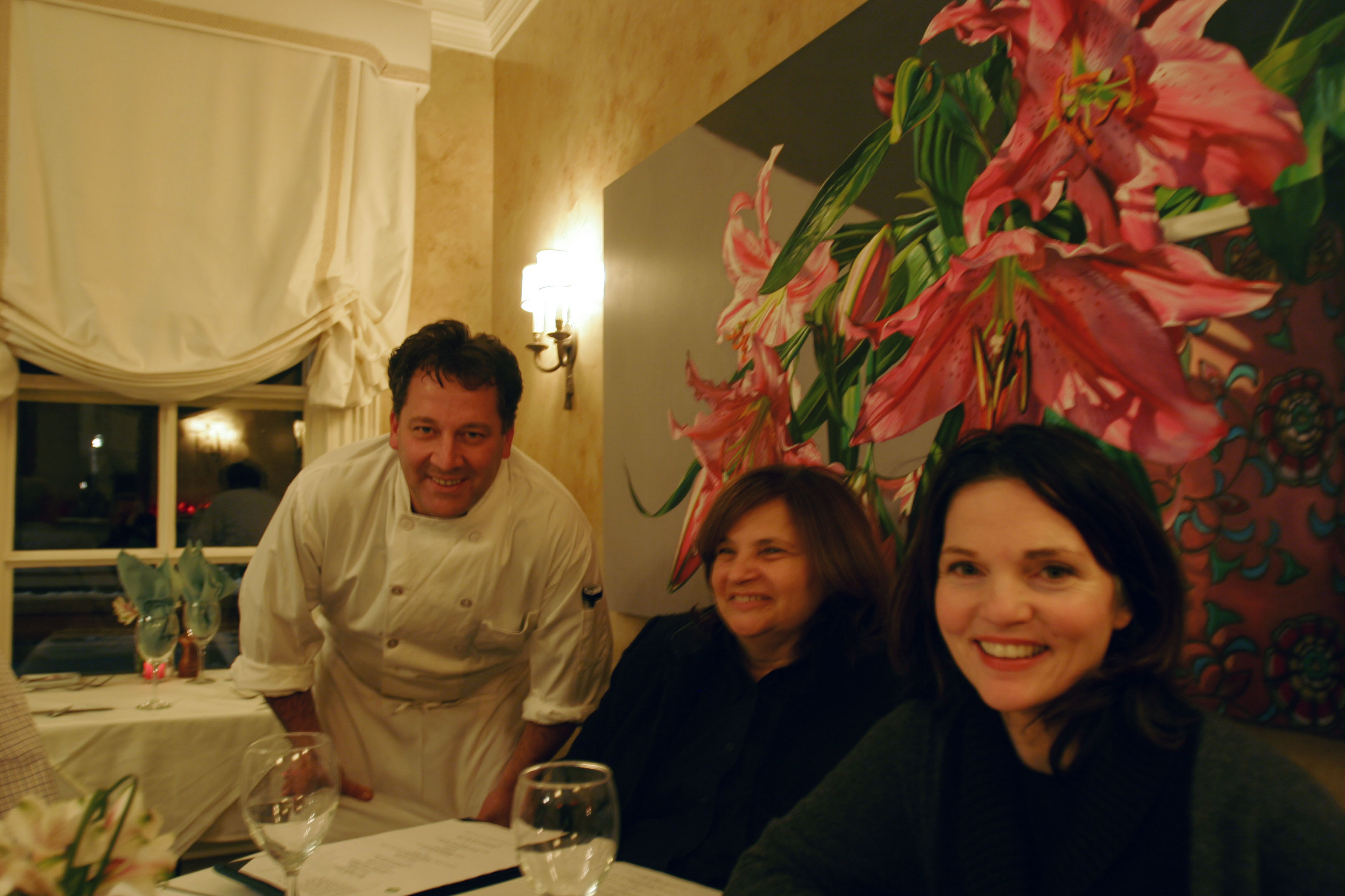 Chef Matt Murphy goes over his menu specialties with owner Lia Polites and American Yogini, Mary McGuire