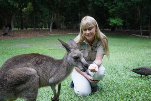 Terri Irwin with kangaroo -®Hopping Pictures