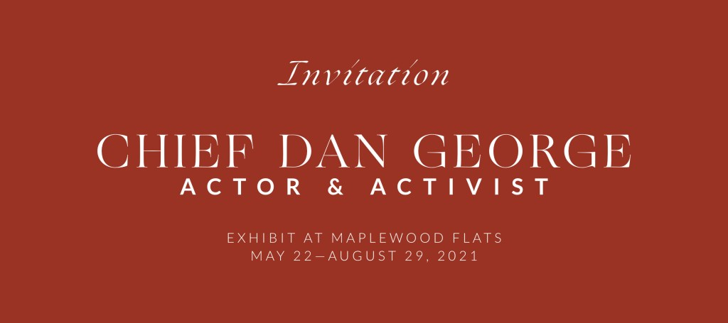 front side of invitation to Chief Dan George Exhibit welcome reception