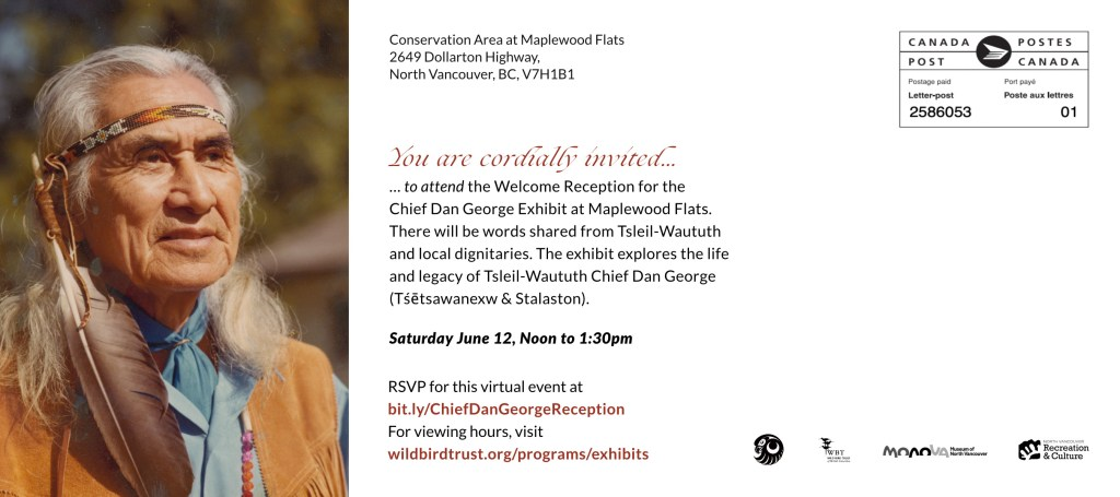 back side of invitation to Chief Dan George Exhibit welcome reception