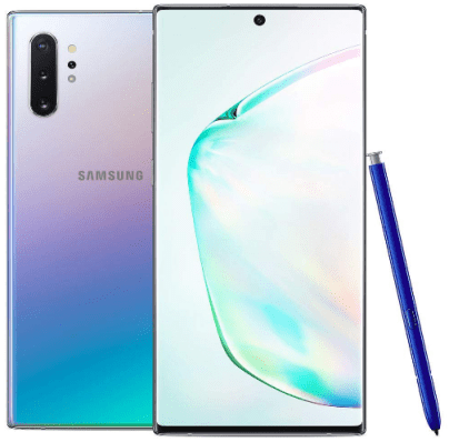 Top-rated android smartphones, Front View Samsung Galaxy Note 10 Plus