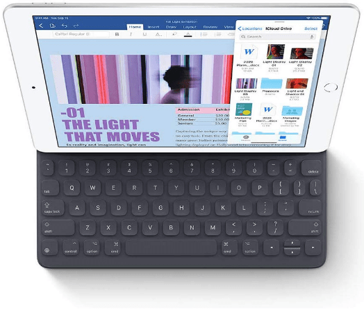 Top rated tablet, the Apple iPad 10.2 with keyboard