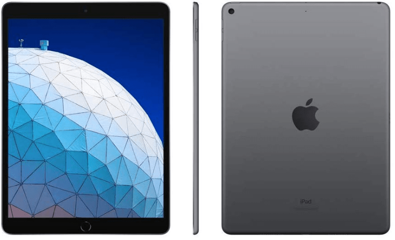 Top rated tablets, Apple iPad air 2019 front side and back view