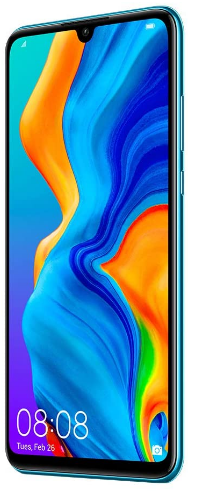 New Huawei P30 Lite, front and side view of power and volume button