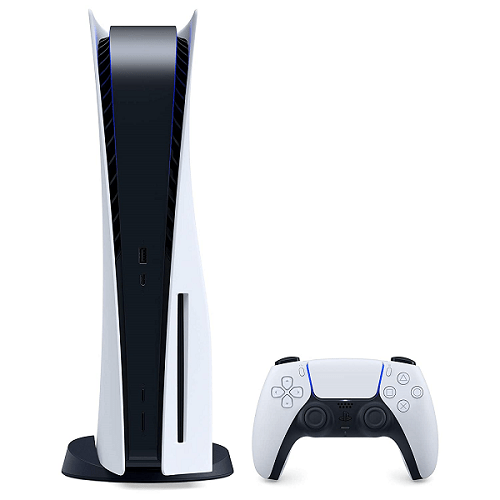 Front view of the new PlayStation 5 console and the DualSense controller