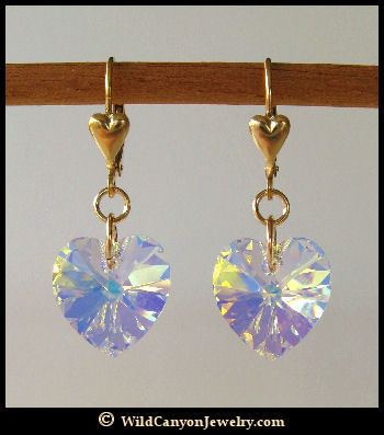 420bdeaf4 Swarovski Crystal 'Aurora Borealis' Heart Earrings ...