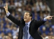 Kentucky Wildcats coach Calipari directs his team against the Connecticut Huskies during their NCAA Final Four college basketball game in Houston