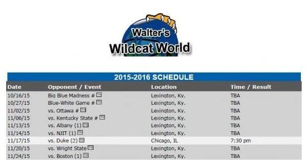 2015-2016 Kentucky basketball schedule