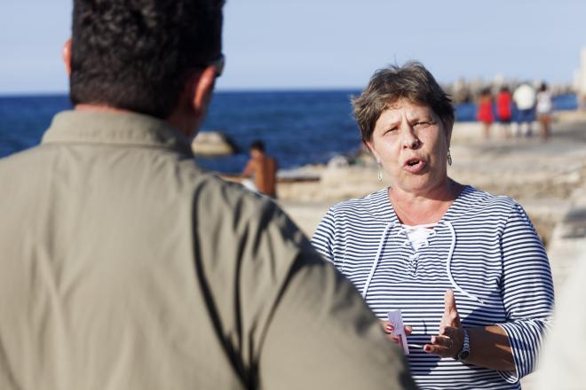 Por el Planeta team interviewing Cuba's Ministry of the Environment official, Havana, Cuba, September