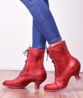 Eleanor Red Leather Womens Granny Boots