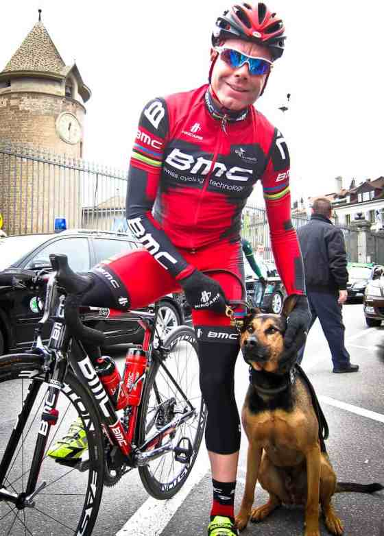 Cadel Evans, 2011 Tour de France & Tour de Romandie Winner & Loki J. Starling, 2010 Certified Iron Dog & Mango Minster Reader's Choice Cracker Dog
