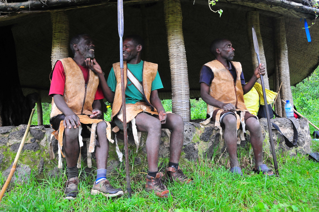 Batwa men at Garama Cave, Mgahinga Gorilla National Park, Gorilla Tracking Safaris