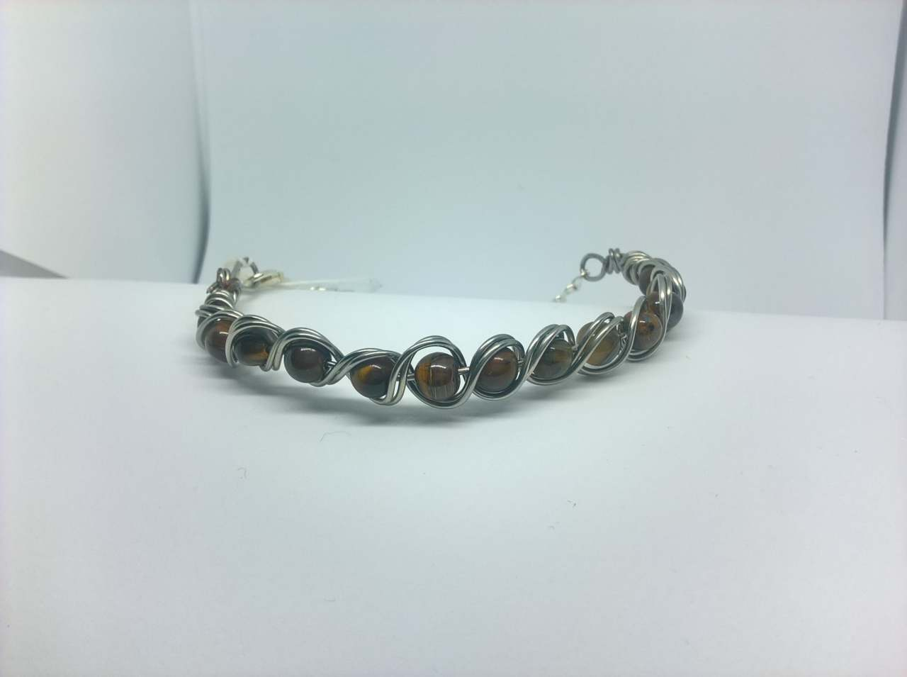 Silver Plated Tigers Eye Gemstone Braided Bracelet - Wilde About Crafts