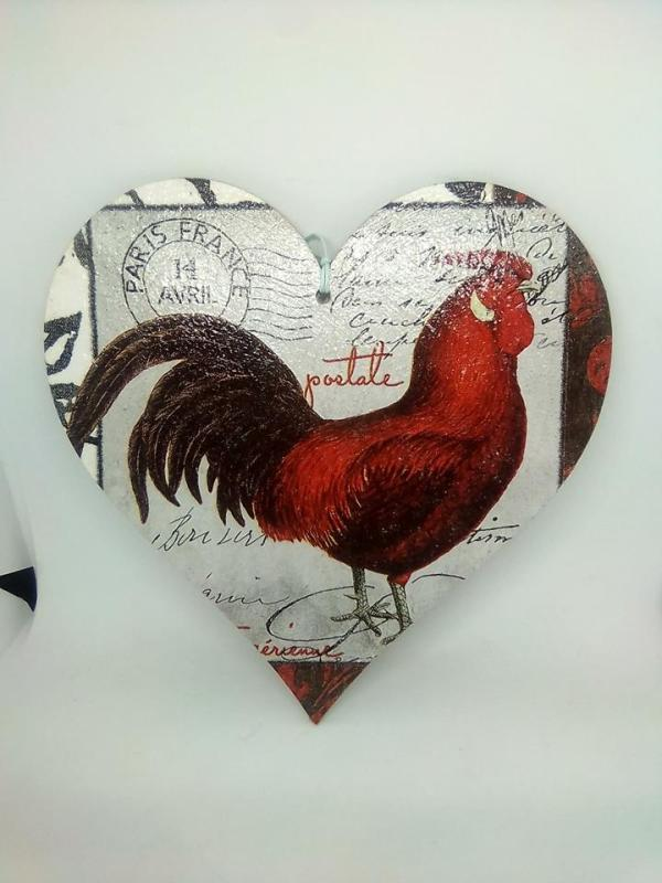 rooster wooden heart