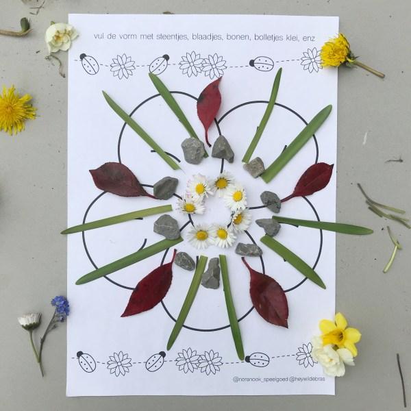 lente printable werkblad natuur knutselen mandala