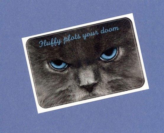 Fluffy Plots Your Doom Sticker by Wilde Designs