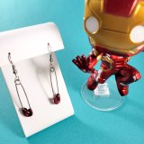 Glittery Red Safety Pin Earrings by Wilde Designs