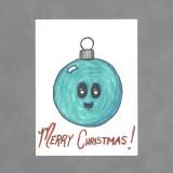 Kawaii Christmas Ball Art Card