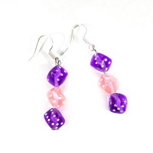 Purple and Soft Pink Gamer Girl Earrings by Wilde Designs