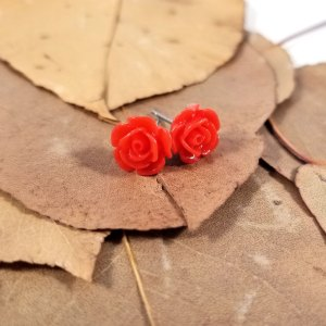 Kawaii Rose Earrings by Wilde Designs in Red